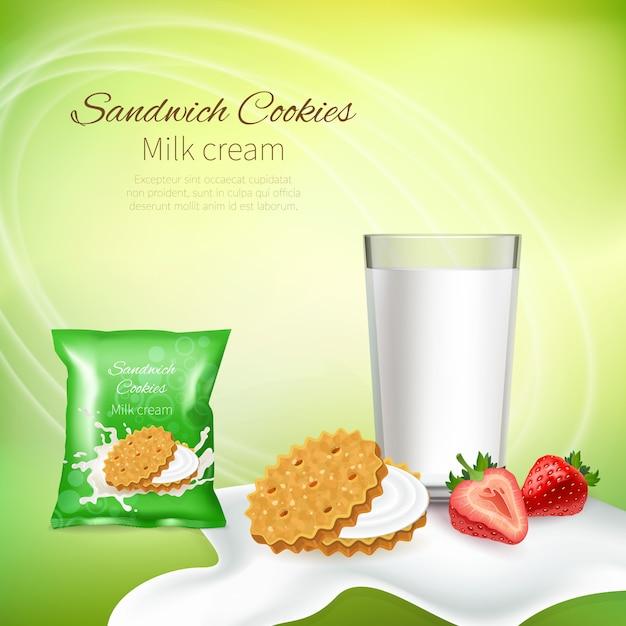 Biscoitos de sanduíche com creme de leite e morangos Vetor grátis