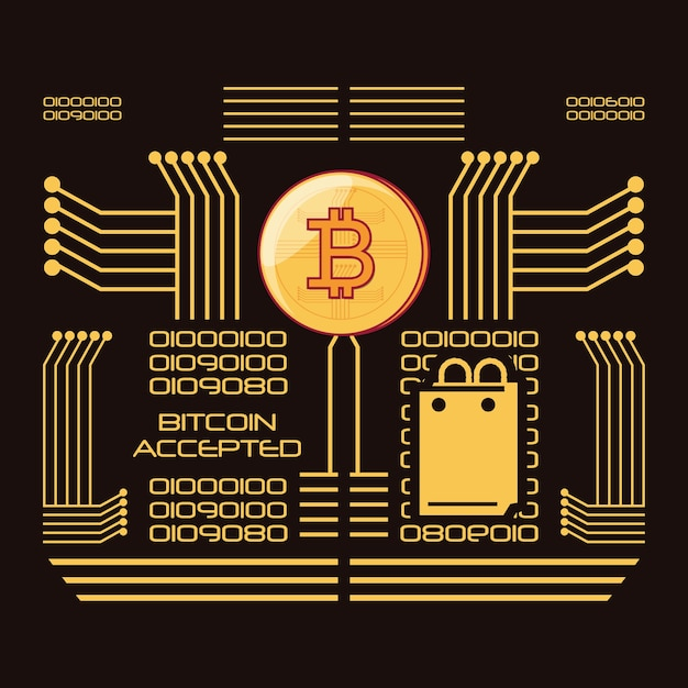 Bitcoin aceite design Vetor Premium