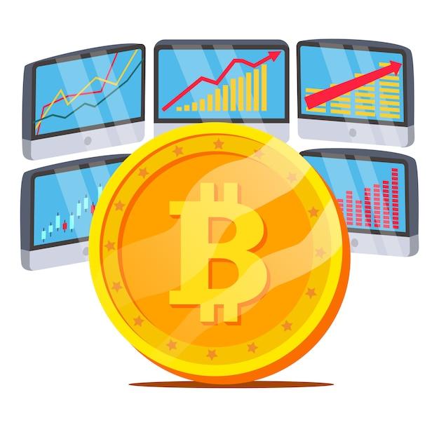 Bitcoin com diagrama de gráfico Vetor Premium