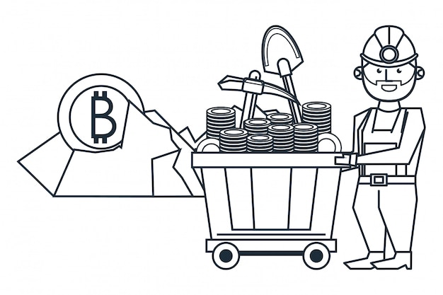 Bitcoin de mineração e trabalhador com pá e vagão Vetor Premium