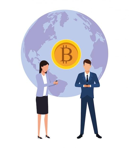 Bitcoin de negócios de criptomoeda | Baixar vetores Premium