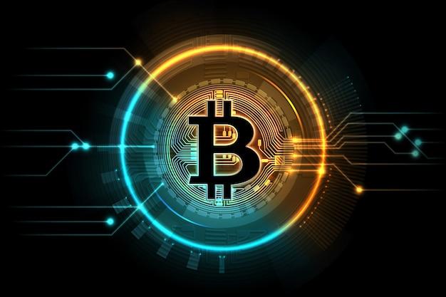 Bitcoin de ouro. símbolo de negócios de mineração, mercado digital de troca de internet. Vetor Premium