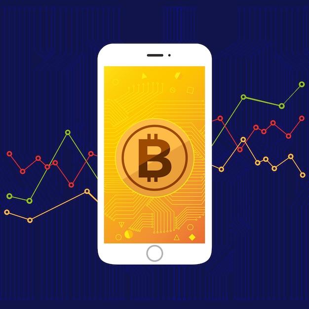 Bitcoin de tela móvel Vetor Premium