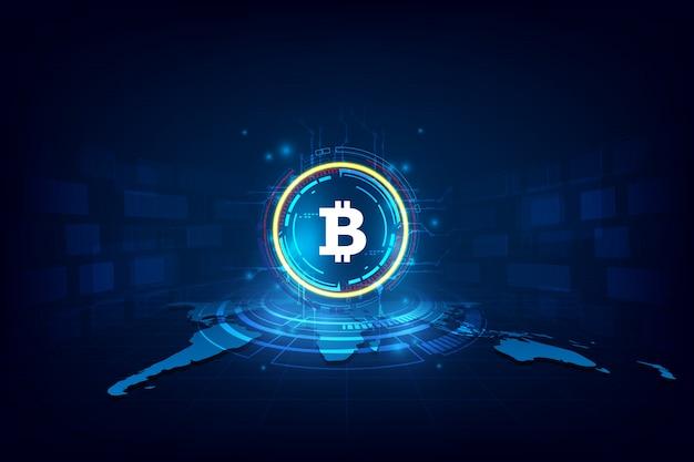 Bitcoin digital abstrato da moeda com blockchain Vetor Premium