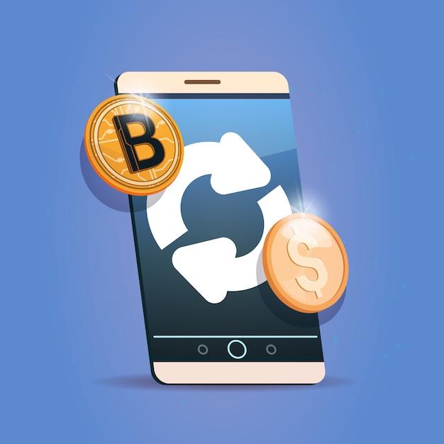 Bitcoin exchange icon on cell telefone inteligente digital crypto moeda moderna dinheiro web Vetor Premium