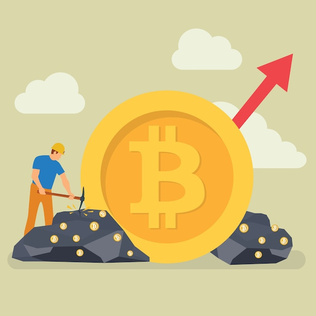 Bitcoin mining technology caráter minúsculo das pessoas Vetor Premium