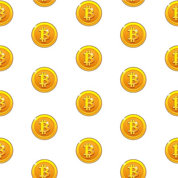 Bitcoin ouro moedas padrão sem emenda. moeda digital da internet, plano de fundo Vetor Premium