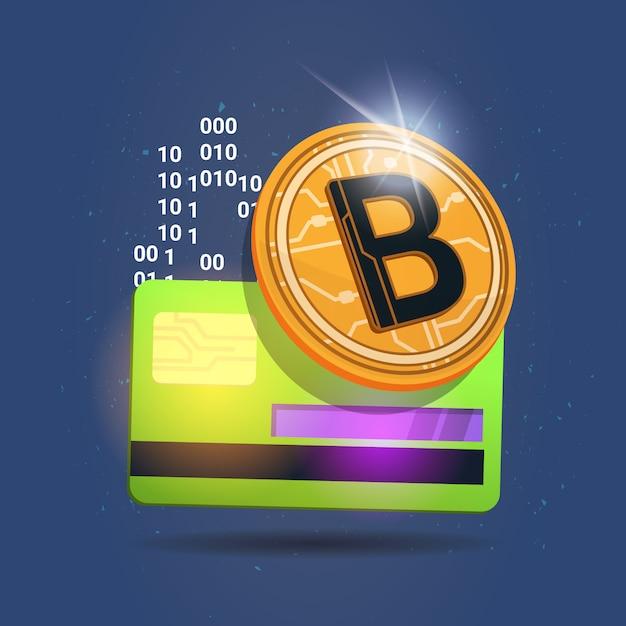 Bitcoin sobre cartão de crédito ícone digital crypto moeda moderna web dinheiro conceito Vetor Premium