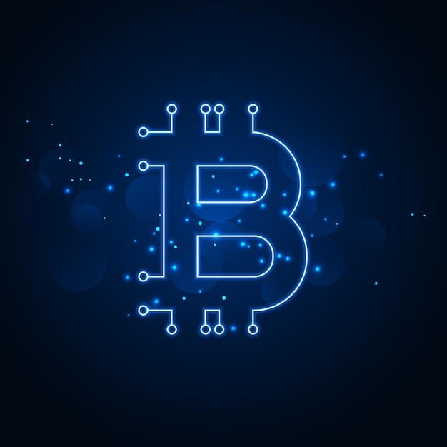 Bitcoin technology network digital background Vetor grátis