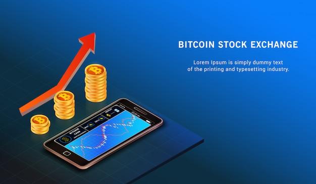 Bitcoin up conceito de crescimento Vetor Premium