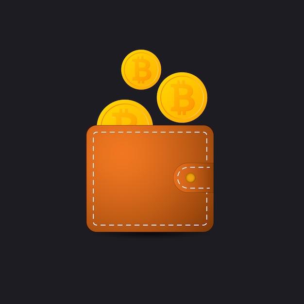 Bitcoin wallet vector icon aplicativo de moeda criptografada Vetor Premium