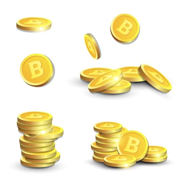 Bitcoins 3d dourado no fundo branco moedas realistas com sinal do cryptocurrency conceito dinheiro digital Vetor Premium