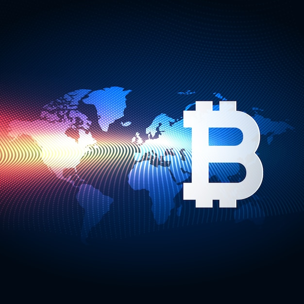 Bitcoins digital currency technology background Vetor Premium