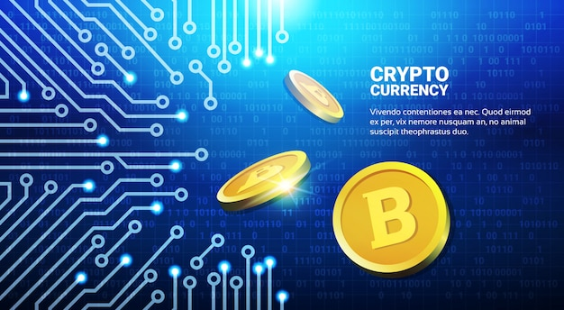 Bitcoins dourado no conceito cripto da rede da mineração da moeda do fundo azul do circuito Vetor Premium