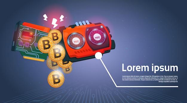 Bitcoins dourados e microchip moeda digital modern web money sobre o fundo azul escuro Vetor Premium