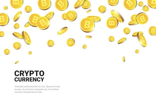 Bitcoins dourados realistas caindo sobre o conceito de fundo branco cryptocurrency Vetor Premium