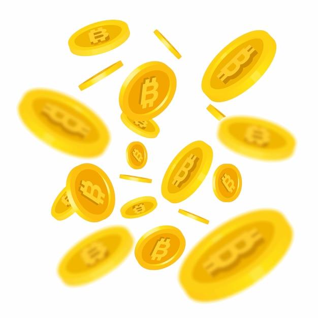 Bitcoins falling illustration Vetor grátis