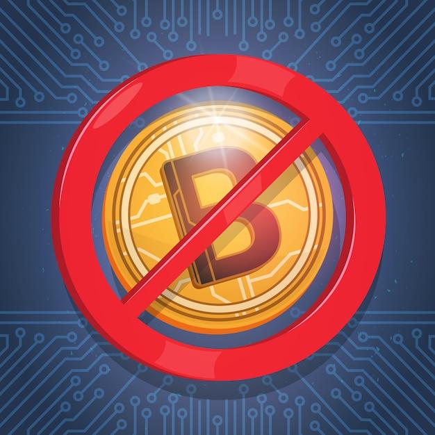 Bitcoins não aceito sinal digital crypto moeda moderna web dinheiro ícone azul circuito fundo Vetor Premium