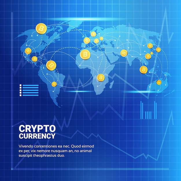 Bitcoins no mapa do mundo Vetor Premium