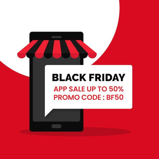 Black friday app sale discount promotion cartaz de mídia social Vetor Premium