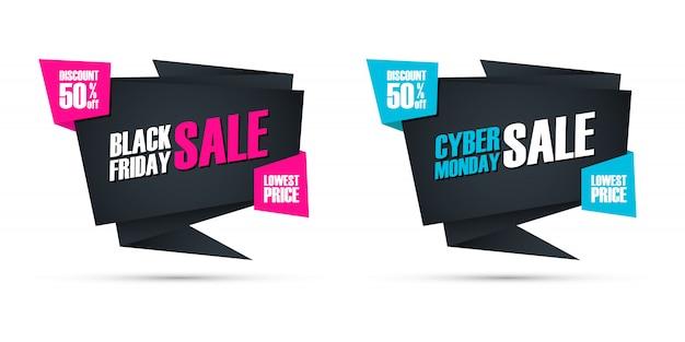 Black friday e cyber monday sale oferecem sinais comerciais para negócios, promoção e publicidade. desconto de até 50%. Vetor Premium
