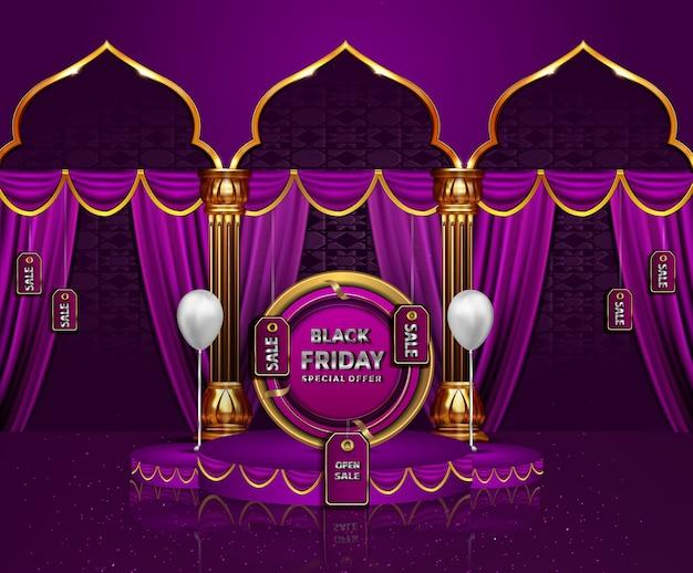 Black friday lindo cartão de saudação venda realista feriado islâmico design Vetor Premium