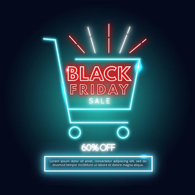 Black friday neon Vetor Premium