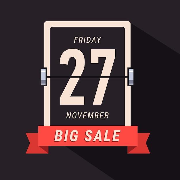 Black friday sale banner, lançando a página do calendário Vetor grátis