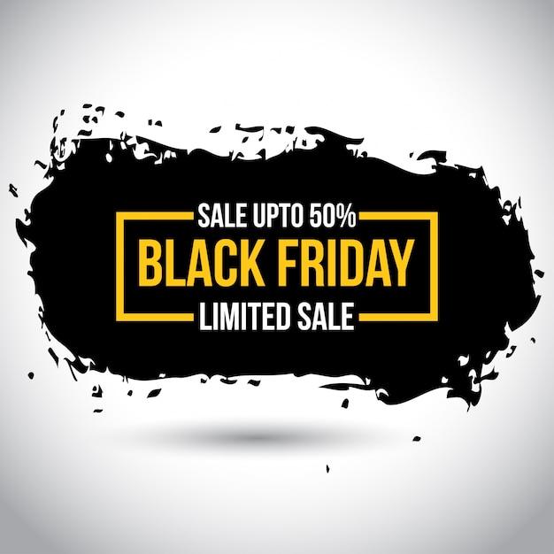 Black friday sale. nova tipografia simples em cor amarela no fundo branco. 50% de desconto Vetor Premium