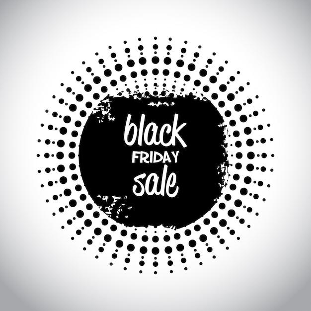 Black friday sale. tipografia simples em uma forma abstrata negra em fundo branco Vetor grátis