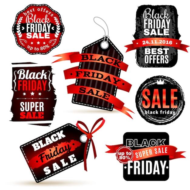 Black fridays labels set Vetor grátis