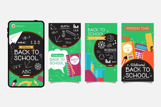 Blackboard back to school instagram stories collection Vetor Premium