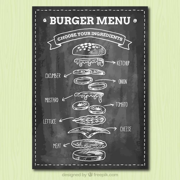 Blackboard com ingredientes saborosos para hambúrgueres Vetor grátis