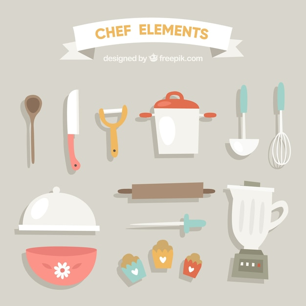 Blender e elementos de cozinha em design plano baixar for Elementos de cocina para chef