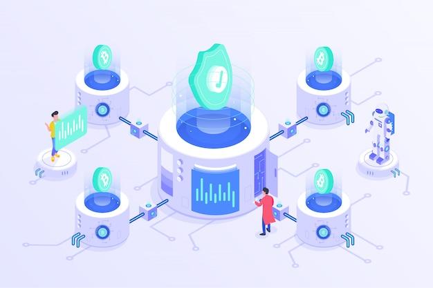 Blockchain cryptocurrency bitcoin mining server online isometric vector illustartion design Vetor Premium