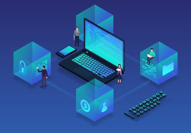 Blockchain de conceito de design plano e tecnologia de criptomoeda Vetor Premium