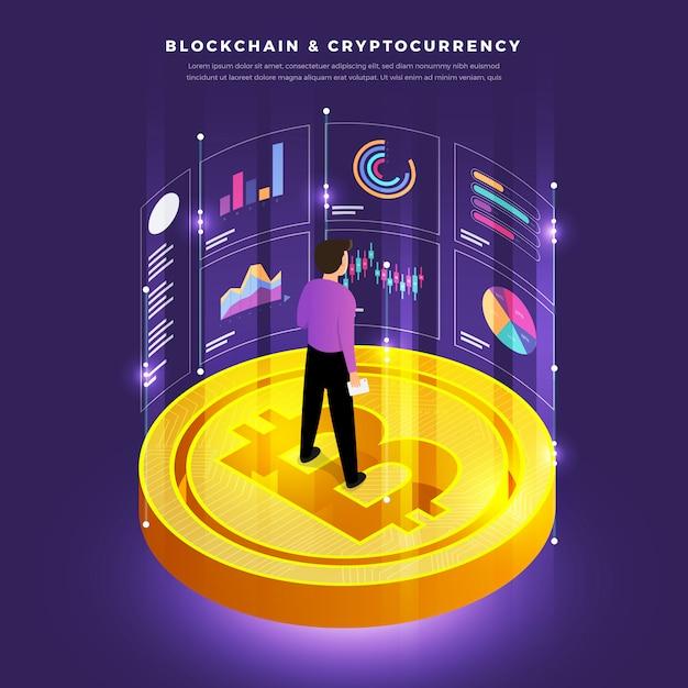 Blockchain e crypotocurrency Vetor Premium