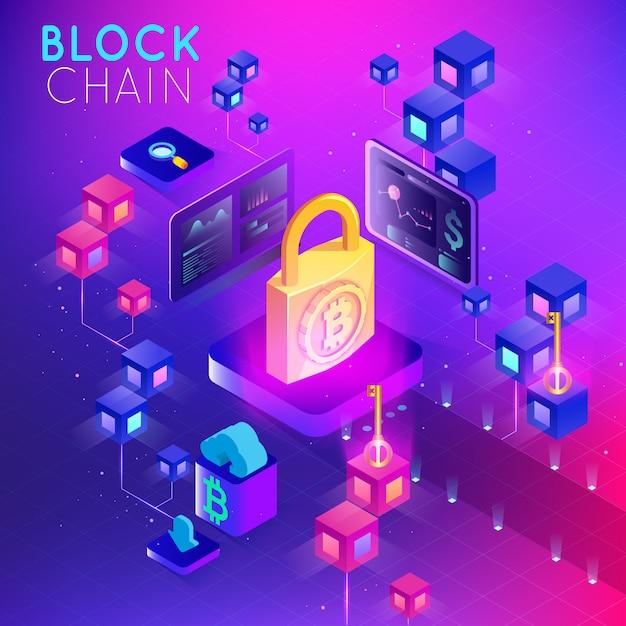 Blockchain. moeda criptografada. conceito blockchain. cadeia de estrutura de arame 3d Vetor Premium