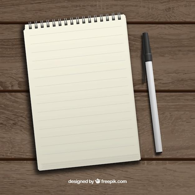 Bloco de notas e caneta realista Vetor grátis