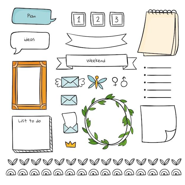Bloco de notas e formas fofas de modelo de diário com marcadores Vetor grátis