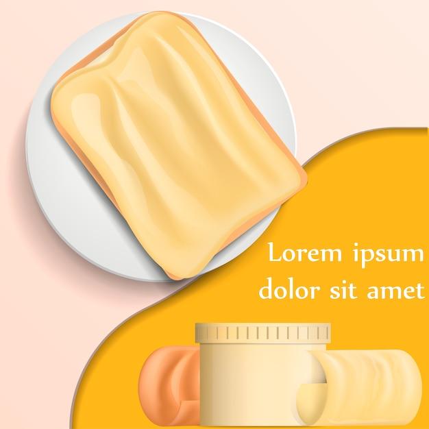 Bloco de onda de manteiga no conceito de banner de placa Vetor Premium
