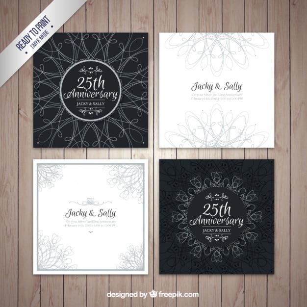 Bloco de quatro cartões de casamento de prata Vetor grátis