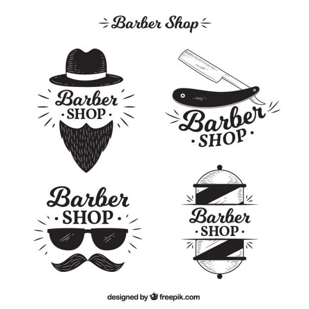 Bloco de quatro logotipos para barbearia Vetor grátis