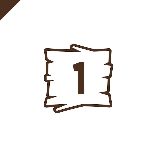 blocos de alfabeto de madeira com número 1 em textura de madeira