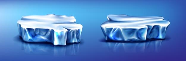 Blocos de gelo pedaços de iceberg, geleira na superfície azul da água congelada com reflexo Vetor grátis