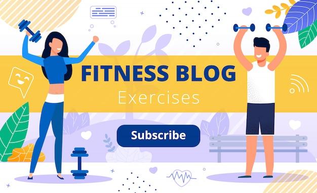 Blog de fitness conteúdo do canal de treinamento para esportes Vetor Premium