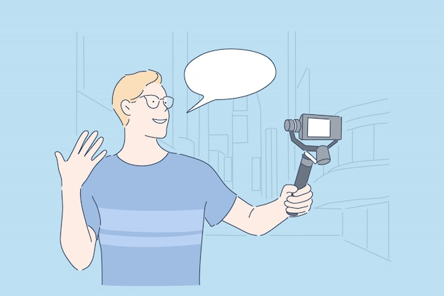 Blog de viagens vlogging conceito de transmissão ao vivo Vetor Premium