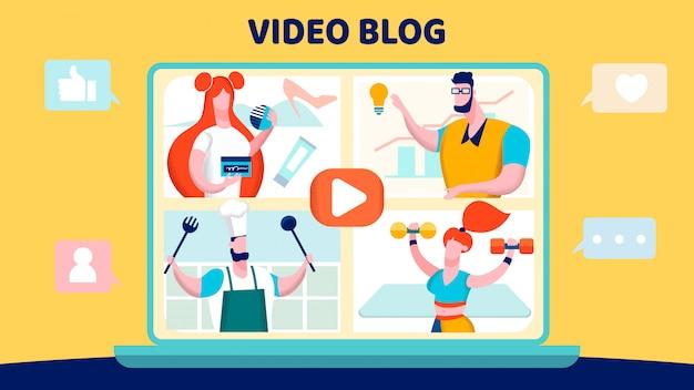 Blog de vídeos Vetor Premium