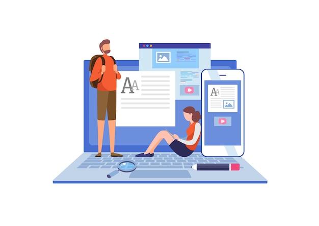 Blogger, copiador. Vetor Premium