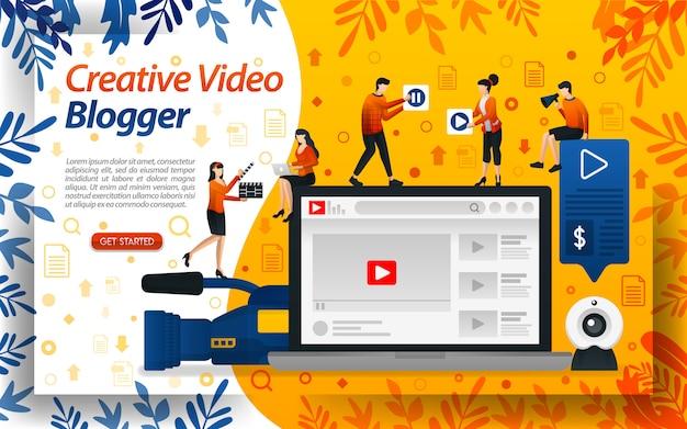 Blogger de vídeo criativo. ilustrações de estúdio para vlog e celebridade Vetor Premium